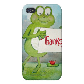 Whimsical Frog with Thanks Thank You Sign Funny iPhone 4/4S Cases