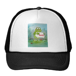Whimsical Frog with Thanks Thank You Sign Funny Trucker Hat