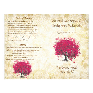Whimsical Fuchsia Heart Leaf Tree Wedding Program