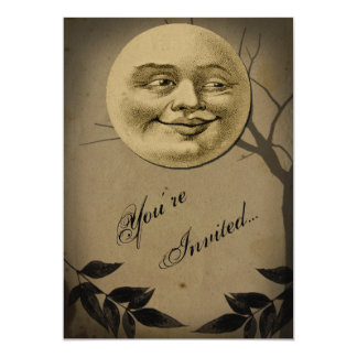 Whimsical Full Moon Face Halloween Party Card