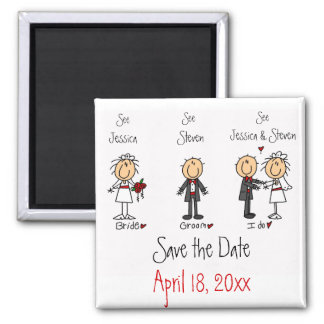 Whimsical Fun Save the Date 2 Inch Square Magnet