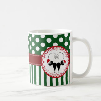whimsical funny Christmas cat couple pattern Coffee Mug