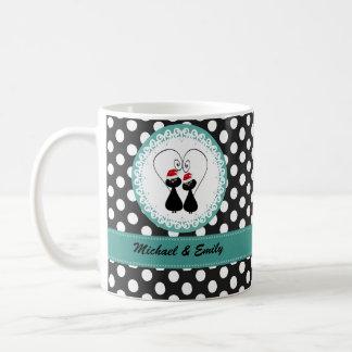Whimsical funny Christmas cat couple personalized Coffee Mug