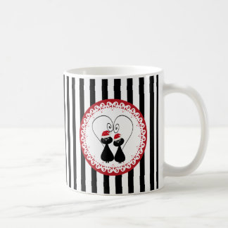 whimsical funny Christmas cat couple stripes Coffee Mug