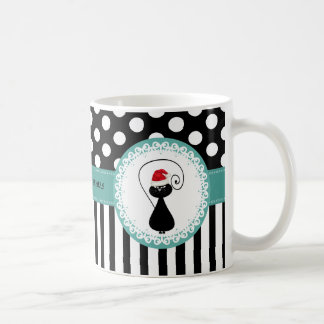 whimsical funny Christmas cat pattern Coffee Mug