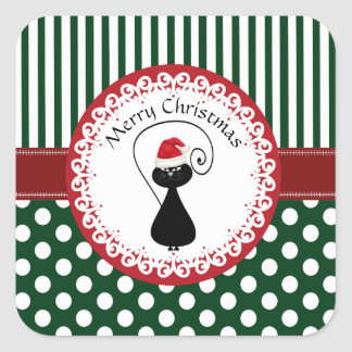 Whimsical funny Christmas Santa cat pattern Square Sticker