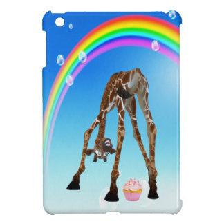 Whimsical Funny Giraffe Cupcake Rainbow iPad Mini Cases