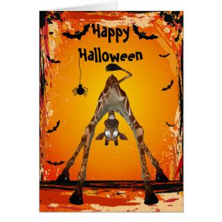 Whimsical Funny Giraffe Halloween Card
