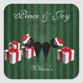 whimsical funny Santa cat couple personalized Square Sticker