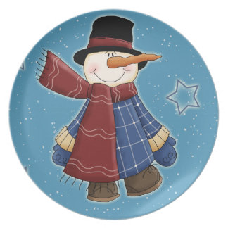 Whimsical funny snowman with coat and scarf dinner plate