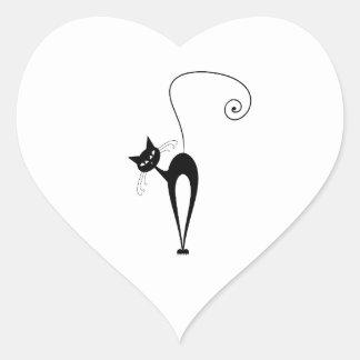 Whimsical Funny trendy black cat choose background Heart Sticker