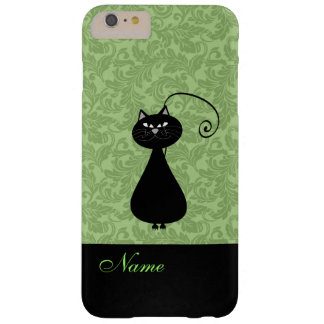 Whimsical Funny trendy black cat damask Barely There iPhone 6 Plus Case