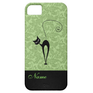 Whimsical Funny trendy black cat damask iPhone SE/5/5s Case