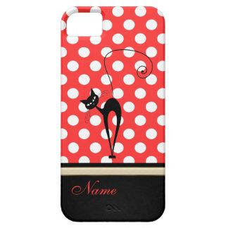 Whimsical Funny trendy black cat polka dots iPhone SE/5/5s Case
