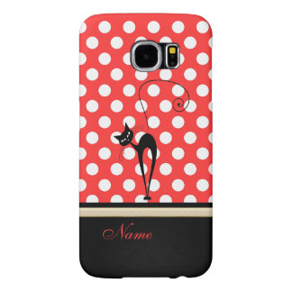 Whimsical Funny trendy black cat polka dots Samsung Galaxy S6 Case