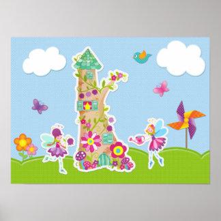 Whimsical Garden Fairies Poster