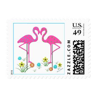 Whimsical Garden Flamingos Stamp