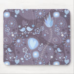 Whimsical garden in blue and grey mouse pad