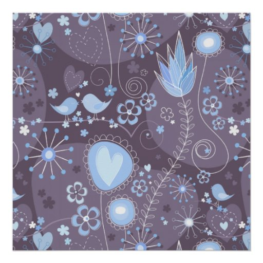 Whimsical garden in blue and grey posters