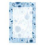 Whimsical garden in blue customized stationery