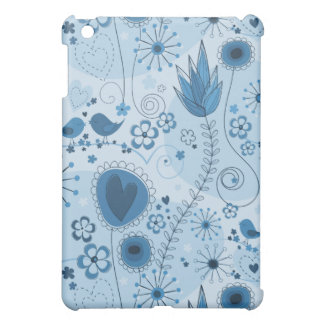 Whimsical garden in blue iPad mini cover