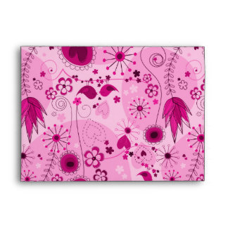 Whimsical Garden in Pink Envelope