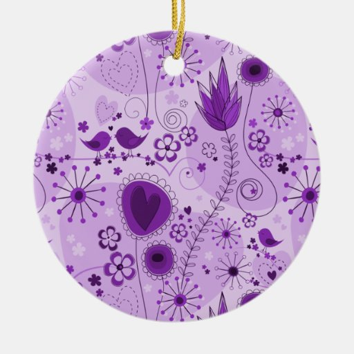 Whimsical Garden in Purple Ornament