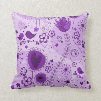 Whimsical garden in purple throw pillow