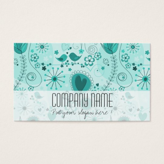 Whimsical Garden in Turquoise Business Card