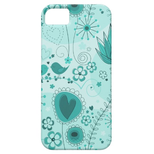 Whimsical Garden in Turquoise iPhone 5 Case