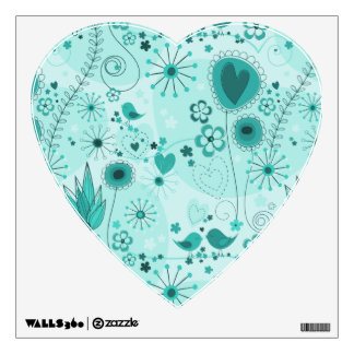 Whimsical Garden in Turquoise Wall Decal