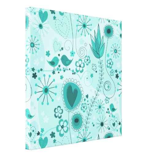 Whimsical Garden in Turquoise Wrapped Canvas Gallery Wrapped Canvas