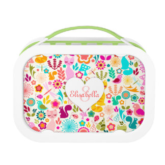 Whimsical Garden Kitties - Custom Name & Monogram Yubo Lunchbox
