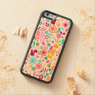 Whimsical Garden Kitties Wood Phone Case Carved® Maple iPhone 6 Bumper Case