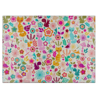 Whimsical Garden Kitty Glass Cutting Board