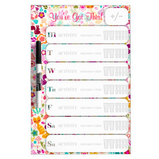 Whimsical Garden Personalized Weekly Fitness Chart Dry-Erase Board