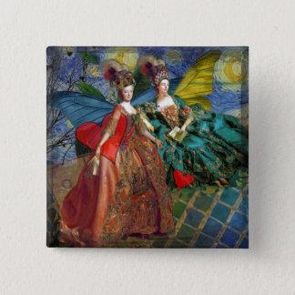 Whimsical Gemini Astrology Artwork Painting Pinback Button