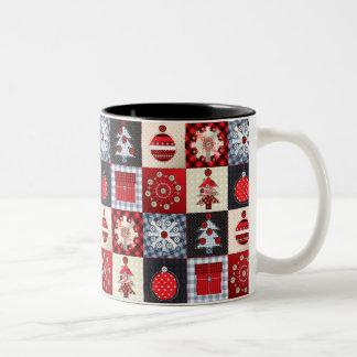Whimsical Gingham Christmas Patchwork Qui Two-Tone Coffee Mug