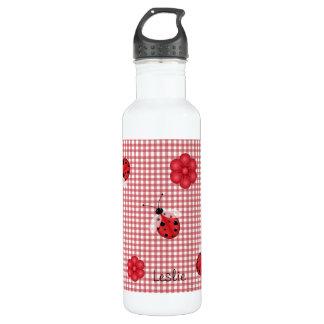 Whimsical Gingham & Ladybugs Water Bottle