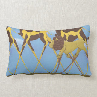 Whimsical Giraffe and Lion Pillow