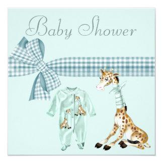 Whimsical Giraffe Blue Baby Boy Shower Personalized Invitations