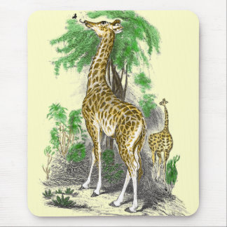 Whimsical Giraffe Butterfly Mousepad