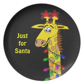 Whimsical Giraffe Christmas Lights Funny Custom Dinner Plate
