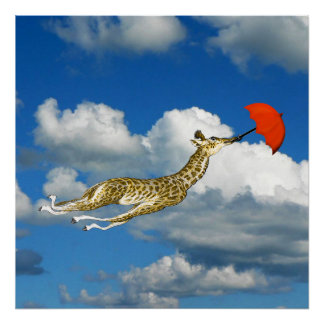 Whimsical Giraffe In the Clouds Poster