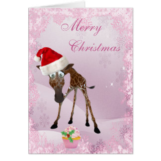 Whimsical Giraffe Pink Cupcake Christmas Card