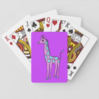whimsical giraffe playing cards
