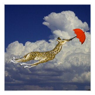 Whimsical Giraffe Umbrella Fly Away With Me Poster