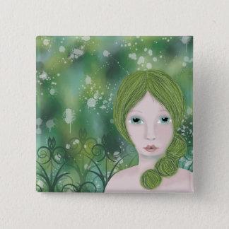 Whimsical Girl Badge, Green Badge, Art Badge Button