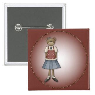Whimsical Girl Bear Design Button