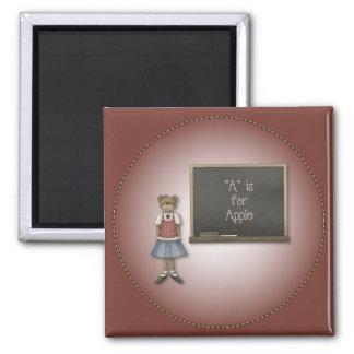 Whimsical Girl Bear Design 2 Inch Square Magnet